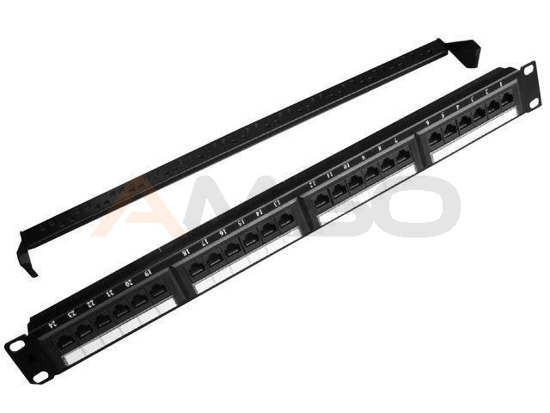 PATCH PANEL 24 PORT 1U KAT.5E Z PÓŁKĄ DO ORGANIZACJI KABLI