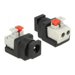 Adapter terminal block (2 pin) (push button) -> DC 5.5x2.1mm (F) Delock
