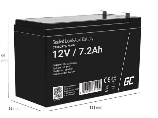Akumulator żelowy AGM Green Cell 12V 7.2Ah