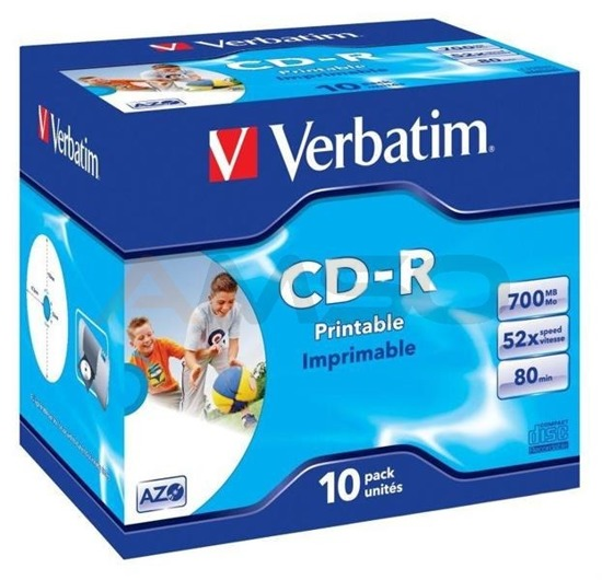 CD-R Verbatim 52x 700MB  (Jewel Case 10) WIDE PRINTABLE