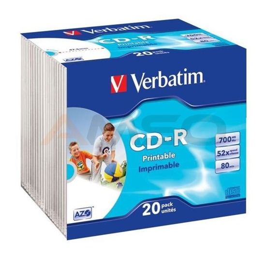 CD-R Verbatim 52x 700MB (Slim 20) WIDE PRINTABLE