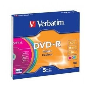 DVD-R Verbatim 16x 4.7GB (Slim 5) COLOUR