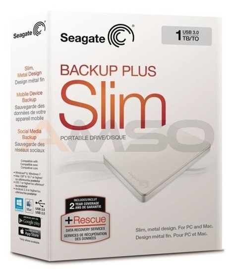 Dysk SEAGATE BACKUP PLUS SLIM STDR1000411 1TB USB3.0 white