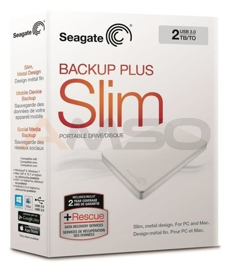 Dysk SEAGATE BACKUP PLUS SLIM STDR2000408 2TB USB3.0 white