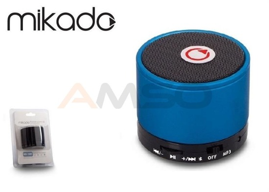 Głośnik Bluetooth Mikado MD-10BT Blue Mikrofon Radio FM Metalowy