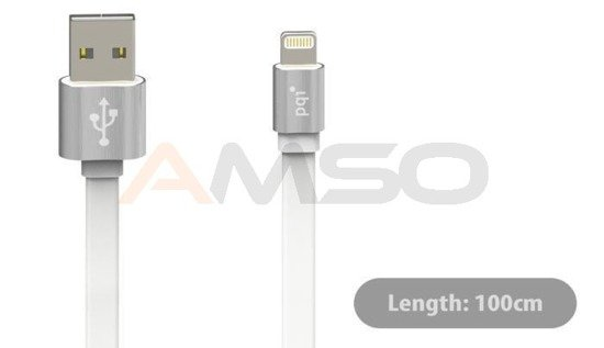 Kabel USB - lightning PQI 100cm metalic srebrny iPhone, iPad