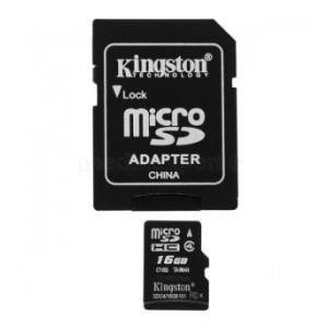 Karta pamięci MicroSDHC KINGSTON 16GB + Adapter Class4