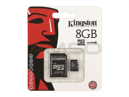 Karta pamięci MicroSDHC KINGSTON 8GB + adapter Class10