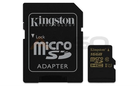 Karta pamięci microSDHC CL10 UHS-I 90R/45W  KINGSTON 16GB + Adapter