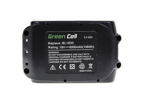 Makita Bateria Green Cell Akumulator BL1830 BL1860 18V 6,0 Ah 194204-5