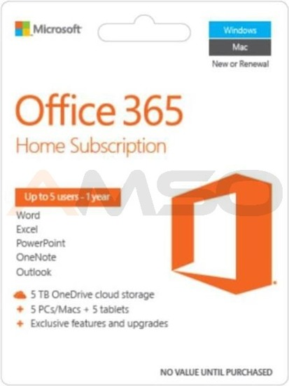 Office 365 Home 32-bit/x64 PL 1 rok  Medialess