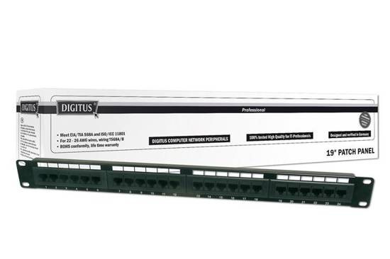 "Patch panel DIGITUS 19"" 24x RJ45 UTP kat. 6 1U"