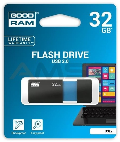 Pendrive GOODRAM SLIDE 32GB USB 2.0 Blue Retail 10