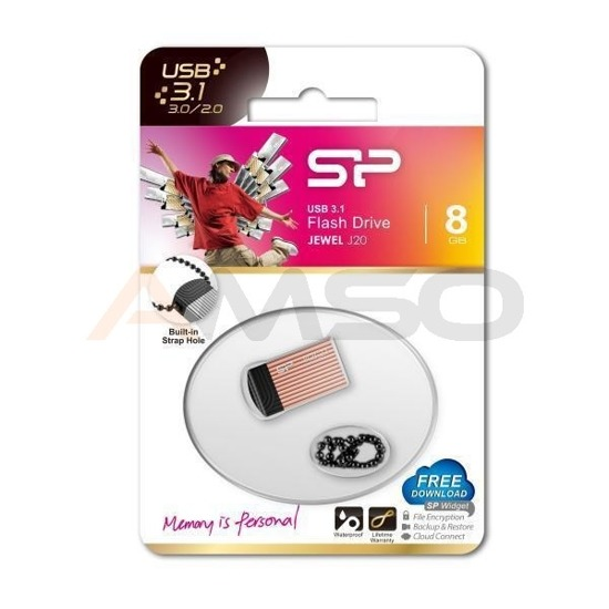 Pendrive Silicon Power Jewel J20 8GB USB 3.0 / USB 3.1  Pink