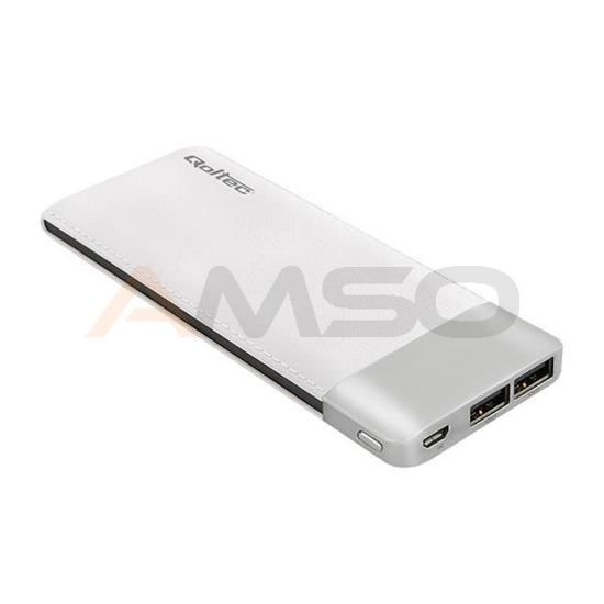 Power Bank Qoltec 10000mAh Li-poly | biały | 2xUSB 2.1A
