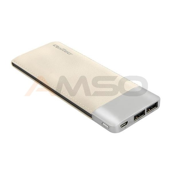 Power Bank Qoltec 10000mAh Li-poly | szampański | 2xUSB 2.1A