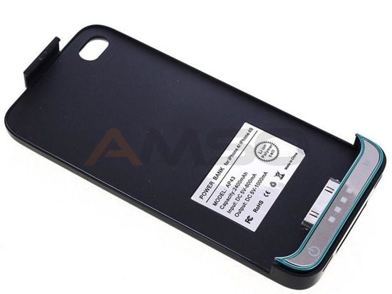 Power Bank w obudowie do iPhone 4 4S Green Cell PB02 2400mAh czarny