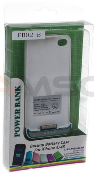 Power bank w obudowie do iPhone 4 4S Green Cell PB02 2400mAh biały