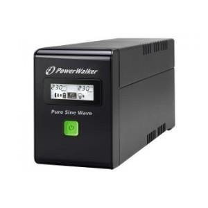 UPS Power Walker line-interactive 600VA 2X SCHUKO 230V, czysta fala sinusoidalna, RJ11/45 IN/OUT, USB, LCD