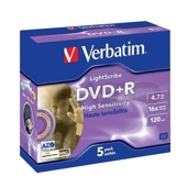 DVD+R Verbatim 16x 4.7GB (Jewel Case 5) LIGHTSCRIBE