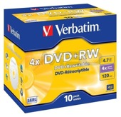DVD+RW Verbatim 4x 4.7GB (Jewel Case 10) MATT SILVER