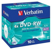 DVD-RW Verbatim 4x 4.7GB (Jewel Case 10) MATT SILVER