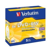 DVD+RW Verbatim 4x 4.7GB (Jewel Case 5) MATT SILVER