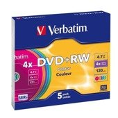 DVD+RW Verbatim 4x 4.7GB (Slim 5) COLOUR