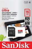 Karta pamięci microSDHC SanDisk ULTRA ANDROID 16 GB 80 MB/s Class 10 UHS-I + ADAPTER SD