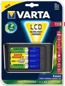 Ładowarka VARTA LCD Ultra Fast Charger + 4 akumulatory AA 2400 mAh Ready To Use