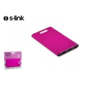 Power Bank S-link IP-P22 4000mAh2xUSB 1A/2.1A Aluminiowy Pink