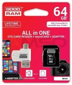 Karta pamięci MicroSDXC GOODRAM 64GB All in one - microCARD class 10 UHS I + adapter + OTG card reader USB/microUSB 2.0