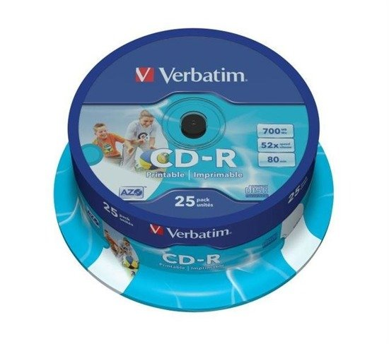 CD-R Verbatim 52x 700MB (Cake 25) WIDE PRINTABLE