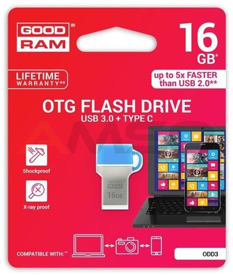 Pendrive GOODRAM DUALDRIVE 32GB USB 3.0 / TYPE C RETAIL 10