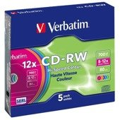 CD-RW Verbatim 700MB Colour X12 (5 Slim)