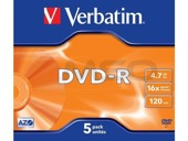 DVD-R Verbatim 4.7GB X16 Matt Silver (5 Jewel Case)